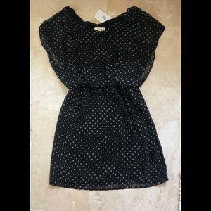 Black & Tan Polka dot Dress NEW W TAGS